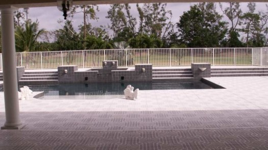 Pool area tile and fencing